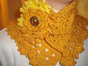 Новый шарфик - шеегрейка с брошью цветком | Ярмарка Мастеров - ручная работа, handmade