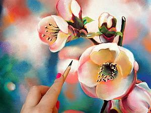 Мастер-класс: рисуем пастелью цветущую вишню. Ярмарка Мастеров - ручная работа, handmade.