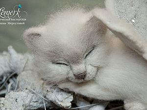 Сладкий белоснежный крылатый котенок КиСонька | Ярмарка Мастеров - ручная работа, handmade