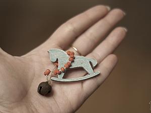 Аукцион - Мишутка Митька, лошадка и деревянная гирлянда с бубенчиком. | Ярмарка Мастеров - ручная работа, handmade