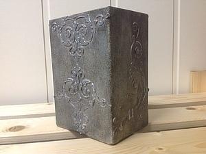 Новинка от  Марины Жуковой! Старинная серебряная ваза - Имитация на стекле+Работа с трафаретами!   Ярмарка Мастеров - ручная работа, handmade