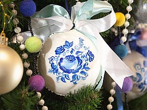 Делаем пряничный новогодний шарик с росписью «Гжель» | Ярмарка Мастеров - ручная работа, handmade