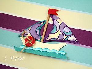 Мини заготовка для открытки «Кораблик». Ярмарка Мастеров - ручная работа, handmade.