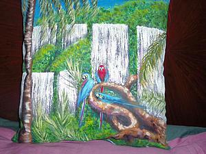 Роспись декоративной подушки «Водопады». Ярмарка Мастеров - ручная работа, handmade.
