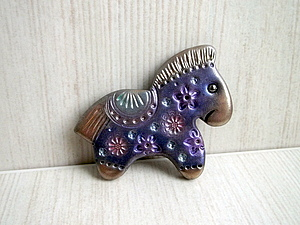 Новогодняя лошадка из полимерной глины, handmade