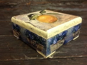 Декупаж чайной шкатулки - новый МК! Работа с распечаткой и двухшаговый кракелюр.   Ярмарка Мастеров - ручная работа, handmade