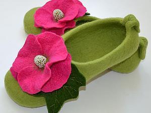 МК по валянию тапочек с цветочным декором 28 февраля 2015г. г. Москва. | Ярмарка Мастеров - ручная работа, handmade