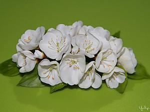 Веточка цветущей вишни из холодного фарфора, handmade