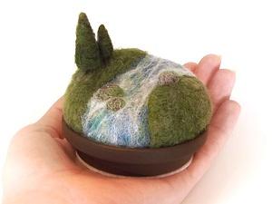 Прелестная войлочная миниатюра — пейзажные игольницы   Ярмарка Мастеров - ручная работа, handmade
