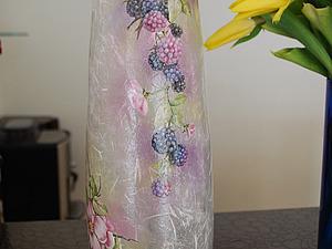 Полупрозрачная ваза с рисовой бумагой   Ярмарка Мастеров - ручная работа, handmade