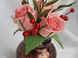 Букетик роз из полимерной глины | Ярмарка Мастеров - ручная работа, handmade