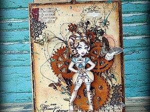 МК по скрапбукингу - раскрашивание штампов + открытка | Ярмарка Мастеров - ручная работа, handmade