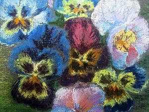 Анютины глазки пастелью   Ярмарка Мастеров - ручная работа, handmade