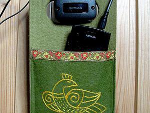 Шьем удобный кармашек для зарядки телефона со славянской птичкой. Ярмарка Мастеров - ручная работа, handmade.