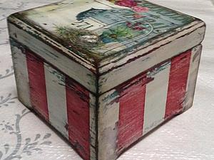«Милая Вещица», полосатая шкатулка с многослойным старением | Ярмарка Мастеров - ручная работа, handmade