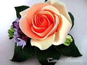 Роза из полимерного материала | Ярмарка Мастеров - ручная работа, handmade