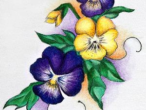 Расцветают «Анютины глазки»... Подробный мастер-класс по росписи хлопка акрилом. Ярмарка Мастеров - ручная работа, handmade.