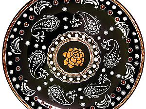 Точечная роспись: тарелка, часы или обложка на пассрпорт. Point-to-point | Ярмарка Мастеров - ручная работа, handmade