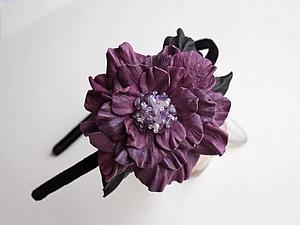Мастер-класс Бархатный ободок с фиолетовым кожаным цветком. | Ярмарка Мастеров - ручная работа, handmade