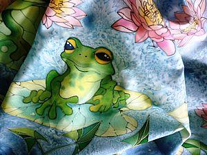 Лягушенции (платок)МК. от Виктории ИгнатовойХолодный батик | Ярмарка Мастеров - ручная работа, handmade