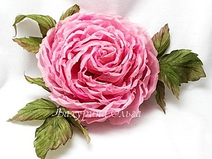 Цветы из шёлка.Мастер-класс.Роза Клаудиа