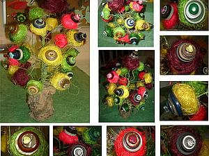 Декоративное дерево из пуговиц и сизаля, handmade