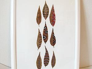 Сухие расписные листья под стеклом | Ярмарка Мастеров - ручная работа, handmade