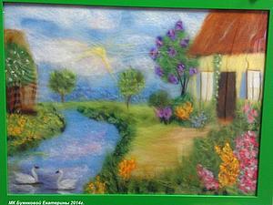 Шерстяная акварель Екатерины Буянковой - создаем картину Домик у пруда