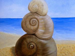 Рисуем маслом ракушки на морском берегу.. Ярмарка Мастеров - ручная работа, handmade.
