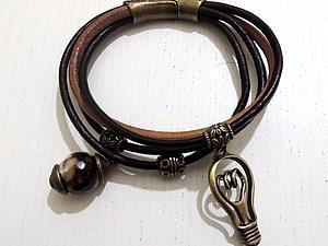 Браслет из кожаных шнуров | Ярмарка Мастеров - ручная работа, handmade