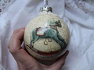 Винтажный шарик на елку, Декорирование елочной игрушки | Ярмарка Мастеров - ручная работа, handmade