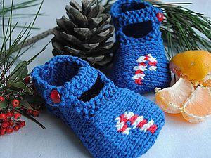 Пинетки-туфельки с конфеткой - вязание на спицах. Ярмарка Мастеров - ручная работа, handmade.