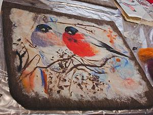 МК Валяние сумки с зимним пейзажем. Техника живописи шёлком. | Ярмарка Мастеров - ручная работа, handmade