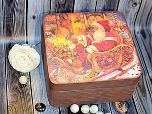 Шкатулка Деда Мороза! Работа с лаковой распечаткой и лессировочное покрытие!   Ярмарка Мастеров - ручная работа, handmade