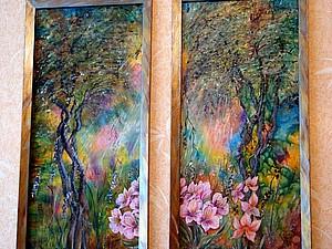 Уголок природы на шелке   Ярмарка Мастеров - ручная работа, handmade