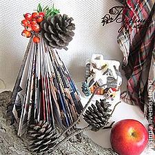 Мастерим новогоднюю ёлочку из глянцевого журнала | Ярмарка Мастеров - ручная работа, handmade