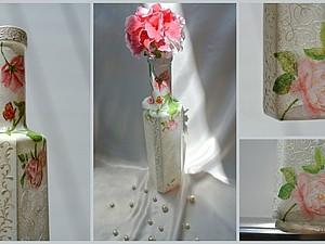Идея декорирования вазы для одного цветка