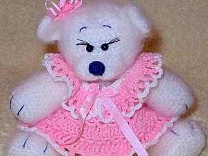 Вязаное платье для медвежонка-девочки. | Ярмарка Мастеров - ручная работа, handmade