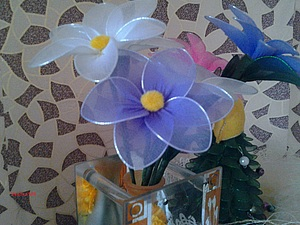 Цветок из капрона | Ярмарка Мастеров - ручная работа, handmade