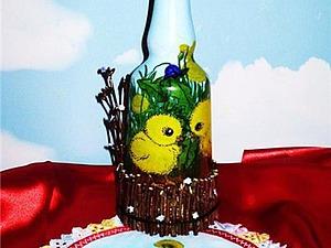 Готовимся к Пасхе: декорируем бутылку. Ярмарка Мастеров - ручная работа, handmade.