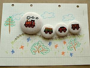 Магнитный поезд (или как украсить магнит вышивкой). Ярмарка Мастеров - ручная работа, handmade.