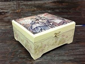 Декупаж чайной шкатулки - новый МК! Работа с распечаткой и двухшаговый кракелюр. | Ярмарка Мастеров - ручная работа, handmade