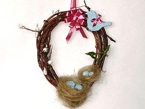 Интерьерный пасхальный веночек с гнездами своими руками. Ярмарка Мастеров - ручная работа, handmade.