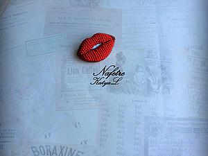 Создаем стильную объемную брошь из бисера «Red Lips». Ярмарка Мастеров - ручная работа, handmade.