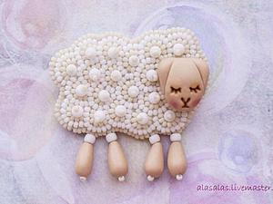 МК Брошь-овечка | Ярмарка Мастеров - ручная работа, handmade