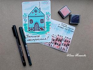 2 способа сделать с ребенком красивую открытку с домиками. Ярмарка Мастеров - ручная работа, handmade.