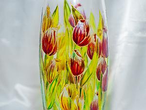 Роспись стеклянной вазы витражными красками. Ярмарка Мастеров - ручная работа, handmade.