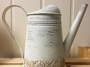 Декорируем лейку! Старение в стиле шебби + Имитация лепнины - 2 техники за 1 занятие! | Ярмарка Мастеров - ручная работа, handmade