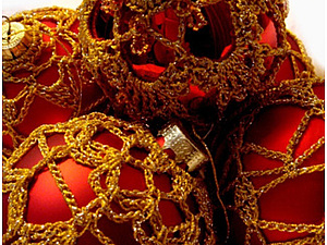 Елочные шары, обвязанные крючком | Ярмарка Мастеров - ручная работа, handmade