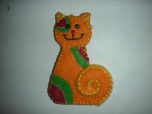 Брошь из фетра «Солнечный кот». Ярмарка Мастеров - ручная работа, handmade.